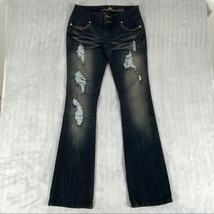 Almost Famous Jeans Sz 7 Dark Wash Heavy Distressed Embellished Pockets Boot Cut